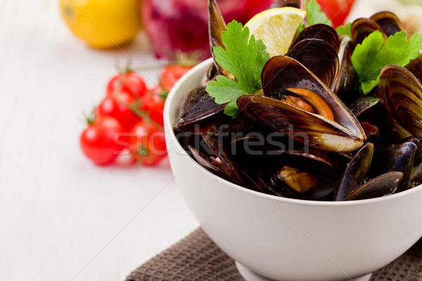 ストックフォト: 白ワイン · イタリア語 · 魚 · 皿 · ワイン