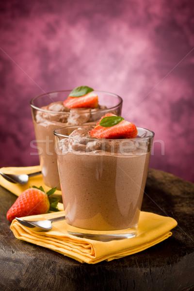 Stock fotó: Csokoládé · hab · puding · finom · eprek · citromsárga · torta