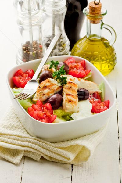 Salada de frango foto delicioso branco garfo comer Foto stock © Francesco83