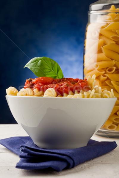 Сток-фото: пасты · томатном · соусе · синий · фото · чеснока