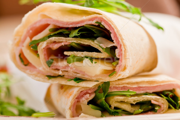 Stock photo: Tortillas with bacon and arugula salad