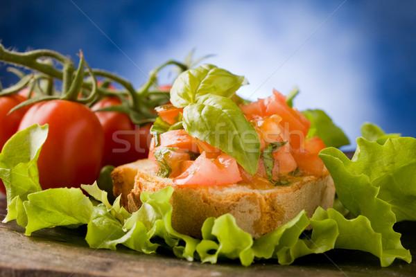 Bruschetta meze fotoğraf lezzetli domates fesleğen Stok fotoğraf © Francesco83