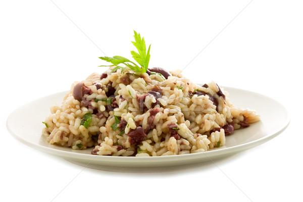 Risotto siyah zeytin lezzetli beyaz yalıtılmış gıda Stok fotoğraf © Francesco83
