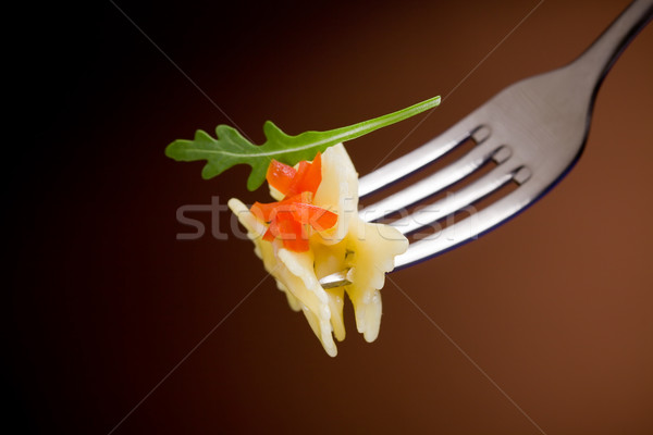 Stok fotoğraf: Makarna · domates · çatal · domates · parçalar