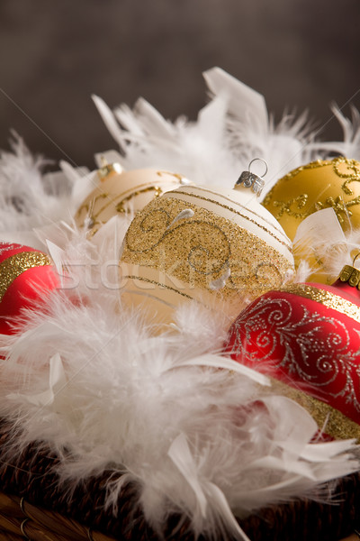 Karácsony dekoráció fotó golyók bent toll Stock fotó © Francesco83