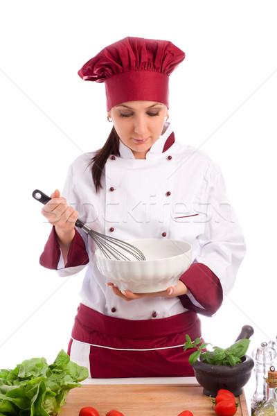 повар фото женщины ресторан белый женщину Сток-фото © Francesco83