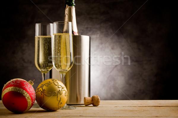 Stock photo: Champagner with Christmas Balls