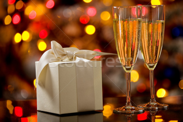 Champagner on Glass Table with Bokeh background Stock photo © Francesco83