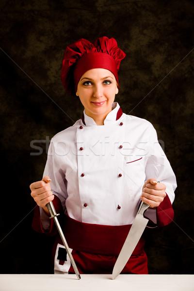 Kucharz nóż Fotografia kobiet temperówka wiejski Zdjęcia stock © Francesco83