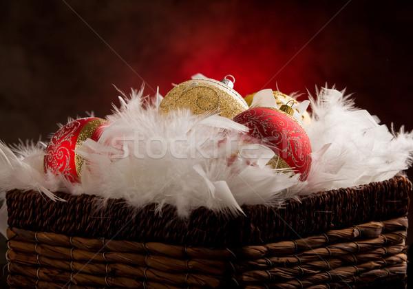 Stock fotó: Karácsony · dekoráció · fotó · golyók · bent · toll