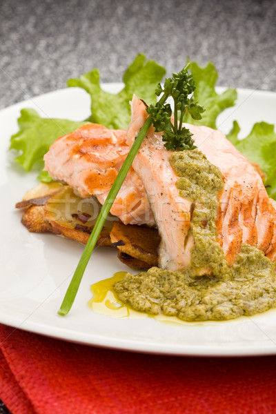 Grilled Salmon with Basil sauce Stock photo © Francesco83