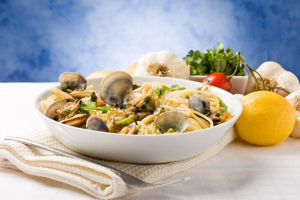 Pâtes bleu photo délicieux alimentaire tomate Photo stock © Francesco83