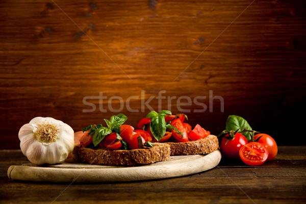 Bruschetta appetizer with fresh tomatoes Stock photo © Francesco83