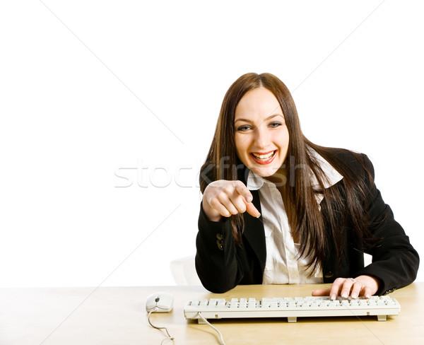 Vidéo chat photo femme bureau réunion Photo stock © Francesco83