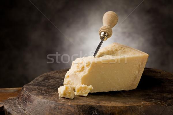 パルメザンチーズ 写真 イタリア語 ナイフ 木製のテーブル ストックフォト © Francesco83