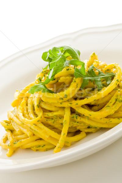 Pasta with Saffron and arugula pesto Isolated Stock photo © Francesco83