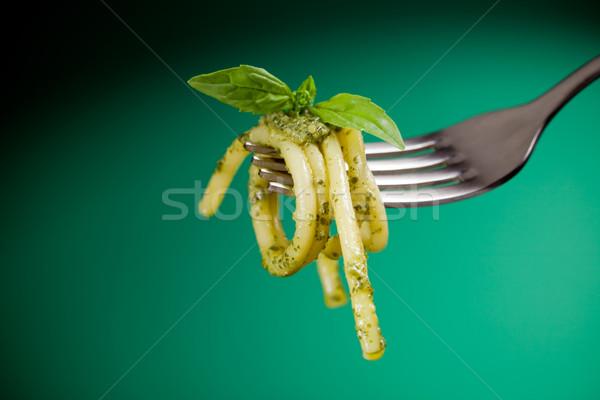 Pasta with pesto wrapped on a fork Stock photo © Francesco83