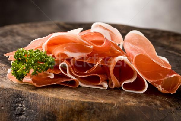 Szalonna fotó finom szeletel fa asztal petrezselyem Stock fotó © Francesco83