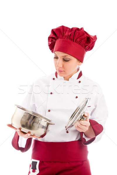 Stockfoto: Chef · pot · handen · foto · presenteren · vrouw