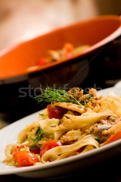 пасты итальянский блюдо деревянный стол рыбы приготовления Сток-фото © Francesco83