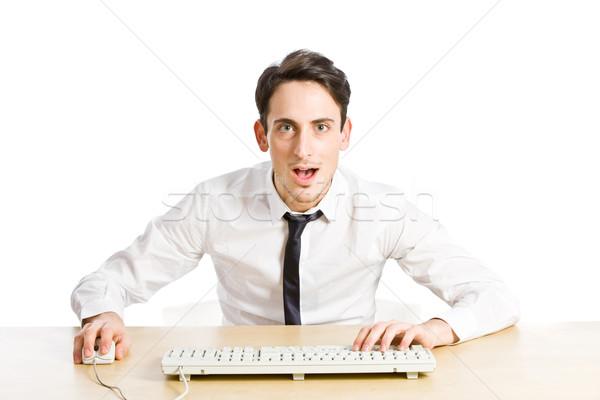 Vay fotoğraf şaşırmış adam bakıyor bilgisayar Stok fotoğraf © Francesco83