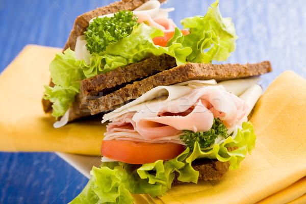 Sajt sonka szendvics fotó finom nagy Stock fotó © Francesco83