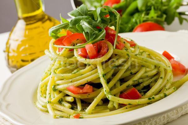Stockfoto: Pasta · pesto · kerstomaatjes · foto · heerlijk · bladeren