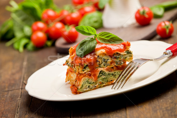 Homemade Lasegne with Ricotta Cheese and Spinach Stock photo © Francesco83