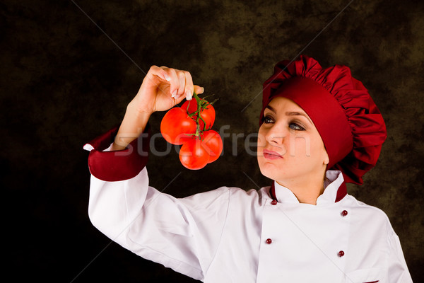Chef is controlling tomato quality Stock photo © Francesco83