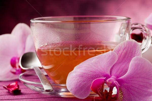 Orchidee thee foto binnenkant glas beker Stockfoto © Francesco83