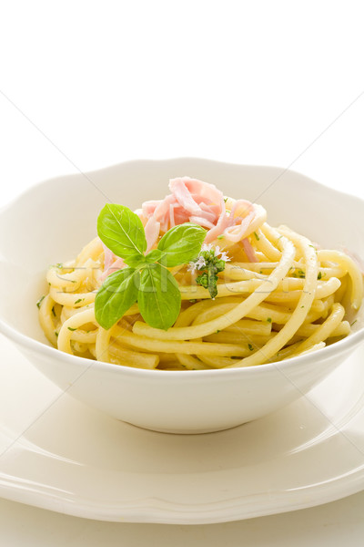 Pasta with sour cream and ham Isolated Stock photo © Francesco83