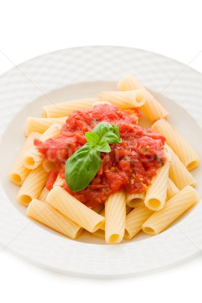 Pâtes sauce tomate basilic photo délicieux blanche Photo stock © Francesco83