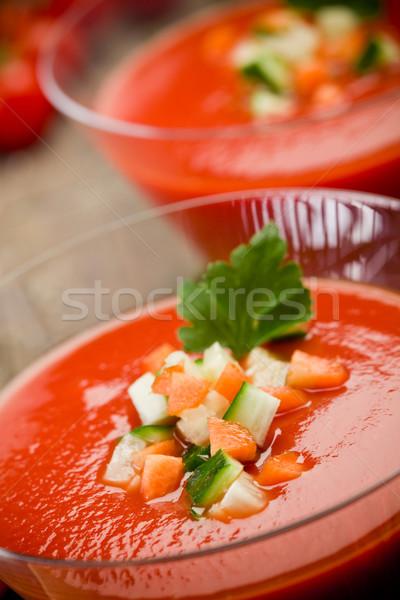 Gazpacho on wooden table Stock photo © Francesco83