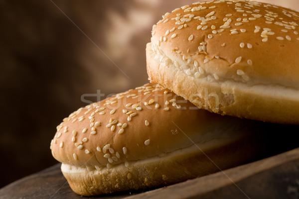 Photo stock: Hamburger · photo · délicieux · hambourg · table · en · bois