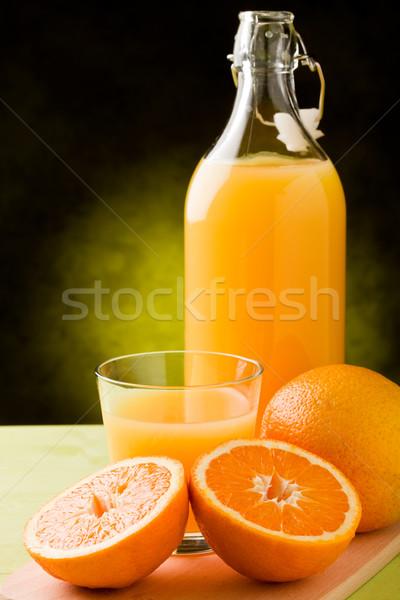Portakal suyu taze içinde cam ahşap masa meyve Stok fotoğraf © Francesco83