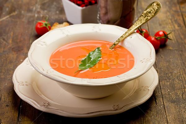 Paradicsomleves friss házi készítésű babérlevél fa asztal étel Stock fotó © Francesco83
