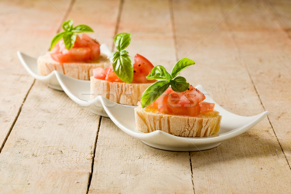Bruschetta with tomatoes and basil Stock photo © Francesco83