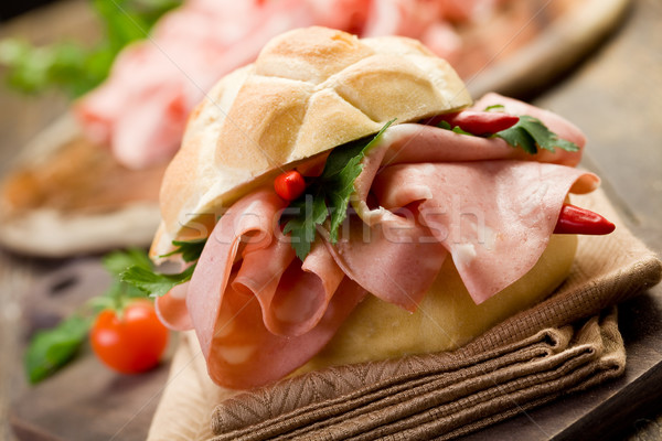 Sandwich with Mortadella and red peppers Stock photo © Francesco83