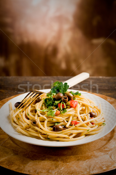 Pasta with Olives and Parsley Stock photo © Francesco83
