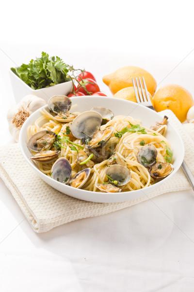 Pasta with Clams on white background Stock photo © Francesco83