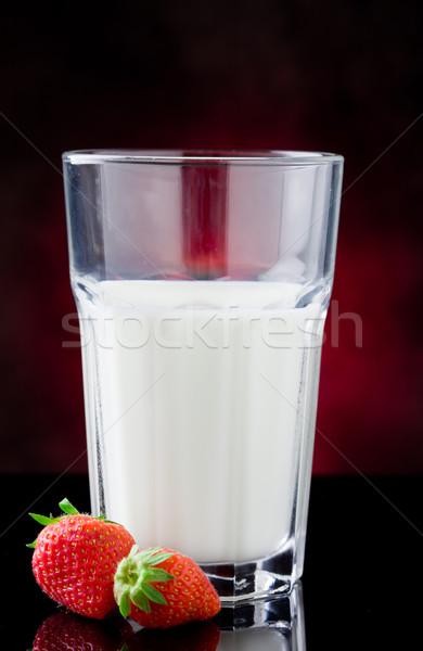 Latte frutti di bosco foto vetro rosso bere Foto d'archivio © Francesco83