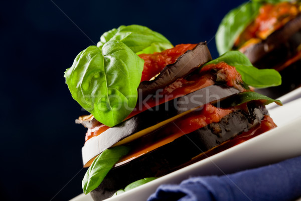 Aubergines with tomato sauce - Parmigiana Stock photo © Francesco83