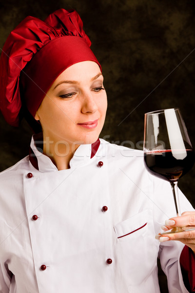 Chef Somelier with wine Stock photo © Francesco83