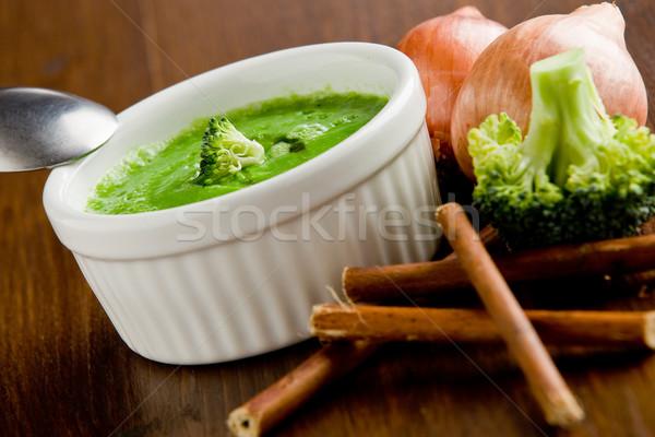 Stock fotó: Brokkoli · leves · fotó · finom · krémes · fából · készült