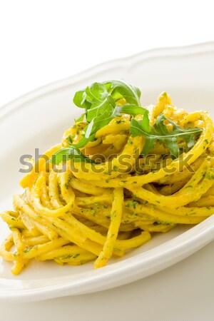 Pasta with Saffron and arugula pesto Stock photo © Francesco83