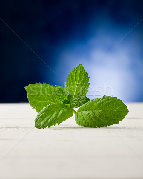 Mint leaves on wooden table with spot light Stock photo © Francesco83