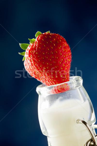 Milk Bottle with strawberry Stock photo © Francesco83