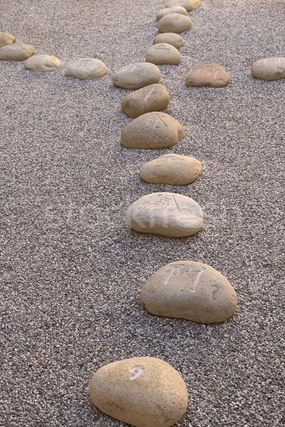 Boulders carved with Chinese characters lying in the gravel  Stock photo © frank11