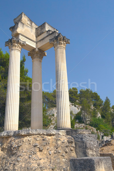 Ruinas romana columnas Francia cielo naturaleza Foto stock © frank11