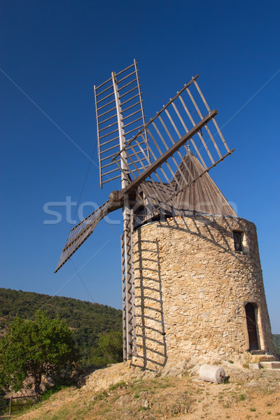 Ancient stone windmill.Vertically. Stock photo © frank11